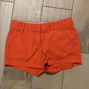 Orange J Crew Broken-In Chino Shorts